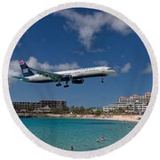 U S Airways Low Approach To St. Maarten Round Beach Towel