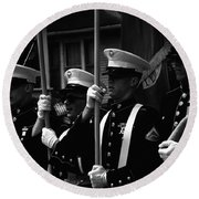 U. S. Marines - Monochrome Round Beach Towel