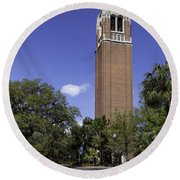 Uf Century Tower And Newell Drive Round Beach Towel by Lynn Palmer