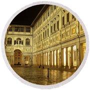 Uffizi Gallery Florence Italy Round Beach Towel by Ryan Fox