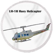Uh-ih Huey Helicopter Round Beach Towel