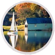 Round Beach Towel featuring the photograph Ullswater by Linsey Williams