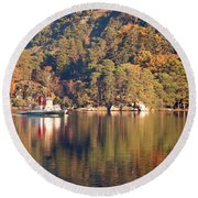 Round Beach Towel featuring the photograph Ullswater Steamer by Linsey Williams