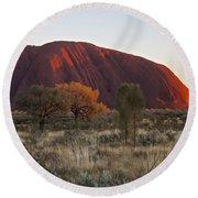 Uluru Ayers Rock At Sunset Round Beach Towel by Venetia Featherstone-Witty