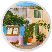 Round Beach Towel featuring the painting Umbera Courtyard by Pamela  Meredith