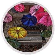 Umbrella Fun Round Beach Towel by Joan  Minchak