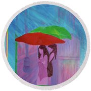 Round Beach Towel featuring the painting Umbrella Girls by First Star Art