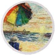 Umbrella Sunrise Round Beach Towel