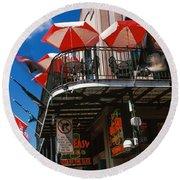 Umbrellas On A Restaurant, Big Easy Off Round Beach Towel