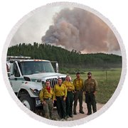 Round Beach Towel featuring the photograph Umpqua Engine 25 On Myrtle Fire by Bill Gabbert