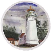 Umpqua Lighthouse Round Beach Towel