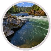 Round Beach Towel featuring the photograph Umpqua River by David Millenheft