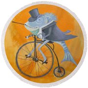 Round Beach Towel featuring the painting Uncle Bernard by Marina Gnetetsky