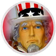 Uncle Sam Wants You Round Beach Towel by Ed Weidman