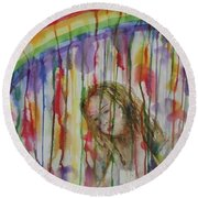 Round Beach Towel featuring the painting Under A Crying Rainbow by Anna Ruzsan
