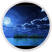 Under A Silvery Moon... Round Beach Towel