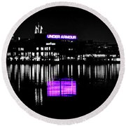 Under Amour At Night - Vibrant Color Splash Round Beach Towel