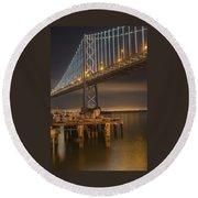 Under Bay Bridge San Francisco California Round Beach Towel by James Hammond