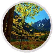 Under Golden Trees Round Beach Towel