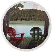 Under Muskoka Trees Round Beach Towel