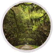 Under The Ancient Oaks Round Beach Towel by Adam Jewell