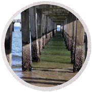 Round Beach Towel featuring the photograph Under The Boardwalk by Ed Weidman