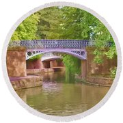 Under The Bridges Round Beach Towel