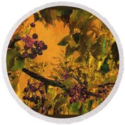 Under The Chokecherry Tree Round Beach Towel by Janette Boyd