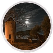 Vintage Windmill In Es Castell Villacarlos George Town In Minorca -  Under The Moonlight Round Beach Towel