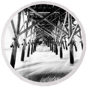 Under The Pier Folly Beach Round Beach Towel