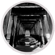 Round Beach Towel featuring the photograph Under The Pier by Frank Bright