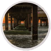 Under The Pier Round Beach Towel by Jane Luxton
