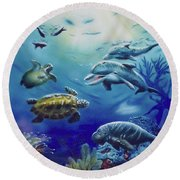 Round Beach Towel featuring the painting Under Water Antics by Thomas J Herring