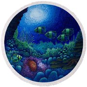 Undersea Creatures Iv Round Beach Towel