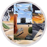 Round Beach Towel featuring the digital art Understanding Everything Full by Ryan Demaree
