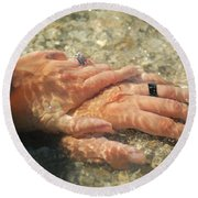 Round Beach Towel featuring the photograph Underwater Hands by Leticia Latocki