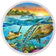 Underwater Turtles Round Beach Towel