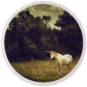 Unicorn Round Beach Towel by Carlos Caetano