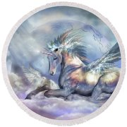 Unicorn Of Peace Round Beach Towel by Carol Cavalaris
