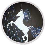 Unicorn Takes A Shower Round Beach Towel