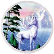 Unicorn The Land That Time Forgot Round Beach Towel by Garry Walton