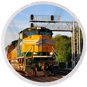Union Pacific Chicago And North Western Heritage Unit Round Beach Towel