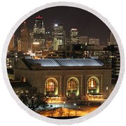 Union Station At Night Round Beach Towel