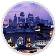 Union Station At Sunset With City Round Beach Towel