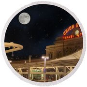 Union Station Denver Under A Full Moon Round Beach Towel by Juli Scalzi