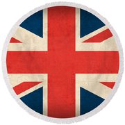 United Kingdom Union Jack England Britain Flag Vintage Distressed Finish Round Beach Towel by Design Turnpike