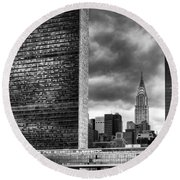 United Nations And Chrysler Building Round Beach Towel