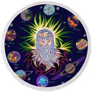 United Planets Of Jesus Christ Round Beach Towel