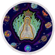 United Planets Of The Queen Of Heaven Round Beach Towel