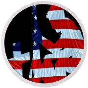 A Time To Remember United States Flag With Kneeling Soldier Silhouette Round Beach Towel by Bob Orsillo
